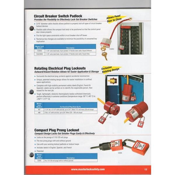 ROTATING ELECTRICAL PLUG LOCKOUT 487 MASTERLOCK