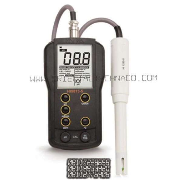HANNA HI 9813 5 alat ukur kadar air pH EC TDS Temperature meter portable