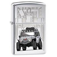 Sarana Hiburan Korek Api Zippo Original Lighter Chrome Jeep Original