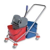 Double Bucket Chrome 2X25 L with Grey Plastic Wringer CN