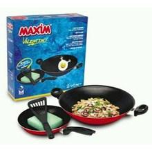 Peralatan masak Maxim Valentino Wok 30Cm Frypan 22Cm