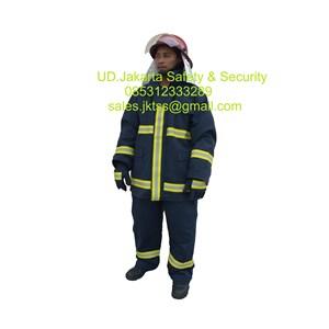 fireman jacket tahan panas seragam dinas pemadam blue nomex murah
