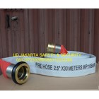 FIRE HOSE SELANG AIR PEMADAM KEBAKARAN HYDRANT 2-5 X 30 10 BAR CANVAS+COUPLING MACHINO MURAH 2
