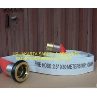 Jual FIRE HOSE SELANG AIR PEMADAM KEBAKARAN HYDRANT 2-5 X 30 10 BAR CANVAS+COUPLING MACHINO MURAH 2