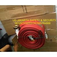 SELANG RUBBER NBR UNIDUR KARET RED PEMADAM KEBAKARAN API HYDRANT FIRE HOSE 2-5X30 METER 17 BAR+COUPLING MACHINO KUNINGAN EX.TAIWAN HARGA MURAH JAKARTA 1