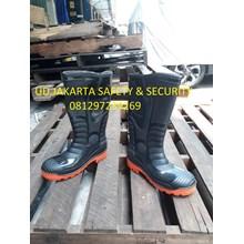 SEPATU SHOES BOOTS SAFETY PRIA HITAM TAHAN AIR STEFFI RUBBER HARGA MURAH JAKARTA