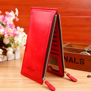 Wallet Leather Import Original Color Red (Red)