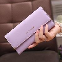 Dompet Wanita Kulit Import Asli Warna Ungu (Purple)