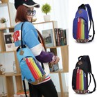 Tas Ransel Import Kanvas Resleting Rainbow Demsare Good Quality 5