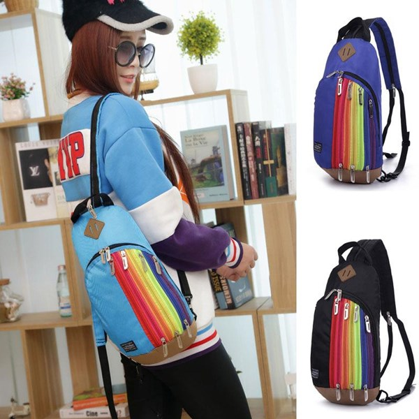Tas Ransel Import Kanvas Resleting Rainbow Demsare Good Quality
