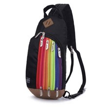 Tas Ransel Import Kanvas Resleting Rainbow Warna Black (Hitam)