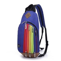 Jual Tas Ransel Import Kanvas Resleting Rainbow Warna Blue (Biru Tua)