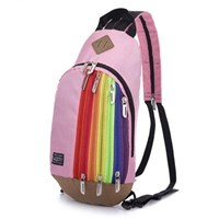 Jual Tas Ransel Import Kanvas Resleting Rainbow Warna Pink (Merah Muda)