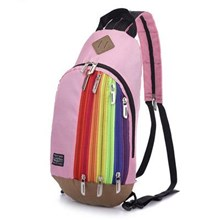 Tas Ransel Import Kanvas Resleting Rainbow Warna Pink (Merah Muda)