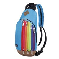 Tas Ransel Import Kanvas Resleting Rainbow Warna Blue (Biru Muda)