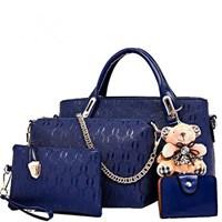 Tas Tangan Wanita Import Satu Set 4 In 1 Warna Blue (Biru)