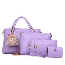 Tas Tangan Wanita Import Satu Set 4 In 1 Warna Purple (Ungu)