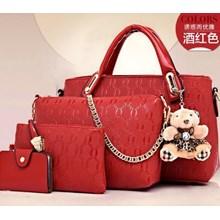 Tas Tangan Wanita Import Satu Set 4 In 1 Warna Red (Merah)
