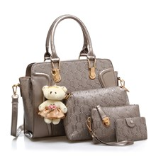 Tas Tangan Wanita Import New Satu Set 4 In 1 Warna Grey (Abu Abu)
