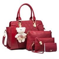 Tas Tangan Wanita Import New Satu Set 4 In 1 Warna Red (Merah)