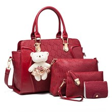 Tas Tangan Wanita Import New Satu Set 4 In 1 Warna Red (Merah)