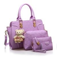 Tas Tangan Wanita Import New Satu Set 4 In 1 Warna Purple (Ungu)