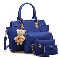 Tas Tangan Wanita Import New Satu Set 4 In 1 Warna Blue (Biru)