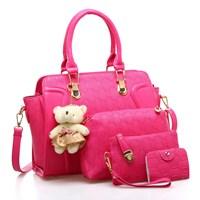 Tas Tangan Wanita Import New Satu Set 4 In 1 Warna Pink (Merah Muda)