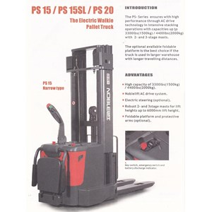 Hand Stacker Elektrik NOBLIFT PS 1560 Cap 1.5 Ton Tinggi 6 Meter