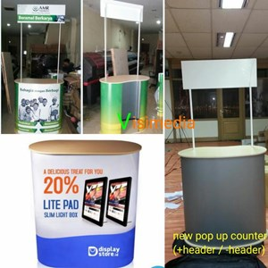 Pop Up Counter + Header - Booth Portable - Meja Promosi