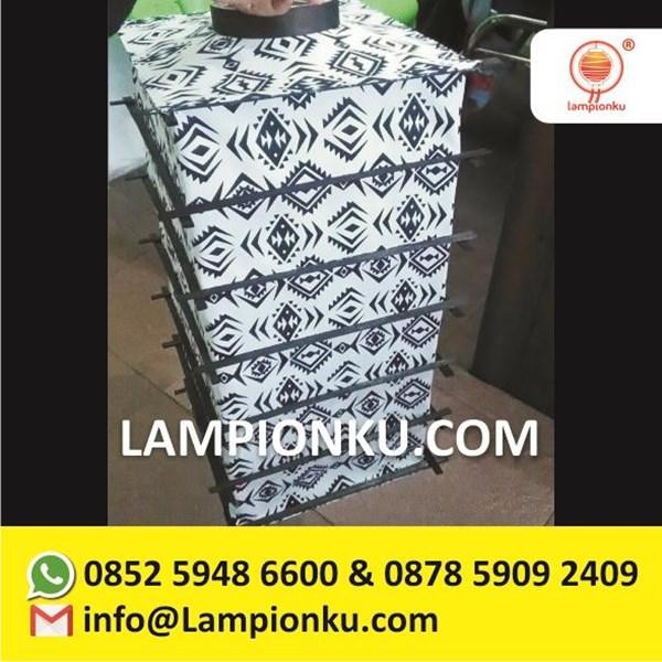 Lampion Jepang Kotak Bambu Luar