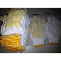 Distributor Harga Sarung Tangan Benang Bintik Kuning Polkadot  3