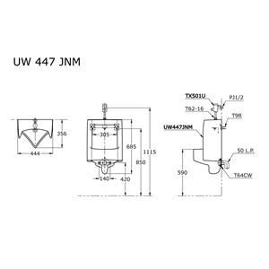 TOTO Urinal UW447JNM atau TX501U Flush Valves