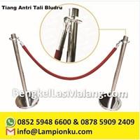 Tiang Antri Stainless Steel Tali Beludru Kepala Ring 4 Pengait