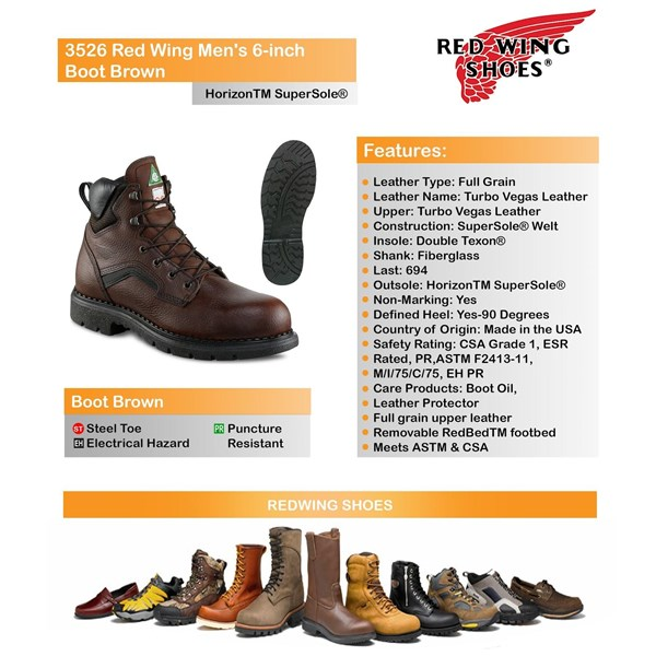 Sepatu Safety Merk RED WING Type 3526 Men Boot Asli