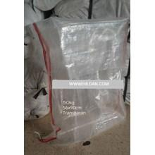 Karung Plastik Transparan List Merah Hitam muat 50 kg