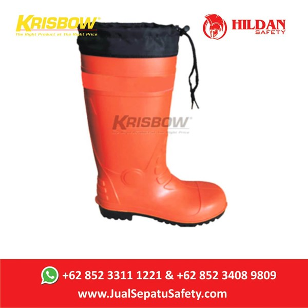 Sepatu Safety Krisbow Boot Rubber Orange -PVC di Bandung