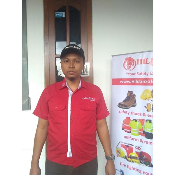Baju Seragam Kerja TELKOM INDIHOME FIBER Merah Murah Satuan