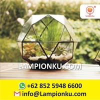 Jual Terrarium Pot Tanaman Kaca Rangka Kuningan Surabaya  2