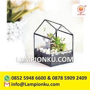Terrarium Pot Tanaman Kaca Rangka Kuningan Surabaya