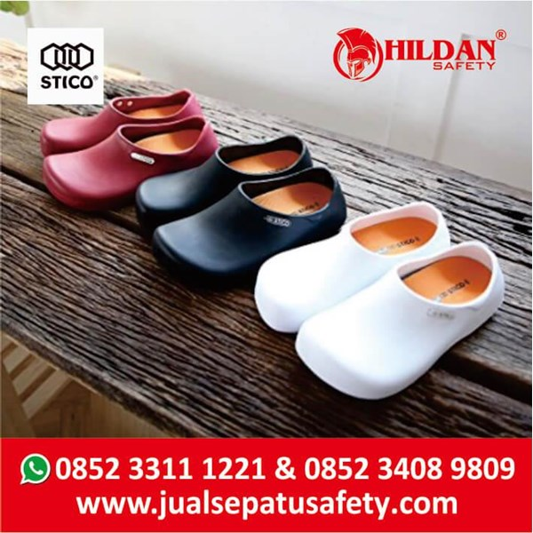 Safety Shoes Merk STICO Sepatu Chef Warna Merah Sepatu Koki Dapur - NEC03