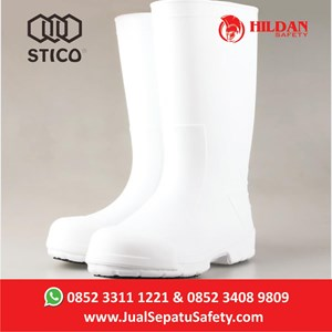 Safety Shoes Boots STICO WBM 12 -  Putih with Toe Cap