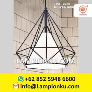 L-654 Kap Lampu Diamond Kain Putih Vintage Minimalis