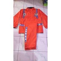 Jas Hujan Polisi - Jas Hujan Stelan Bahan Taslan - Warna Orange