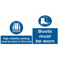 Safety Sign Sepatu dan Rompi Kerja - Ukuran 80 x 60 cm