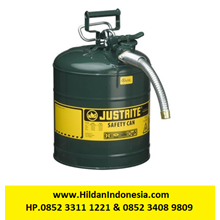 Justrite 7250430 Type II Green AccuFlow with Hose Safety Container