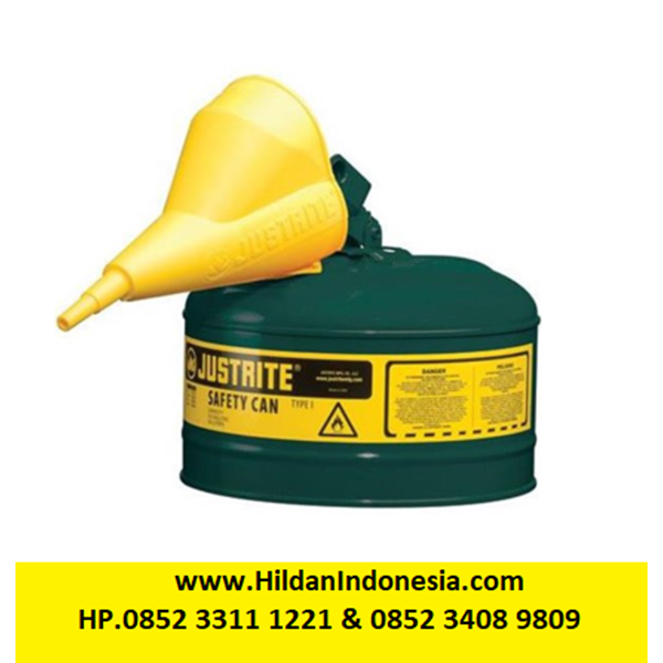 Justrite 7125410 Type I Green Larger Capacity Trigger Safety Container