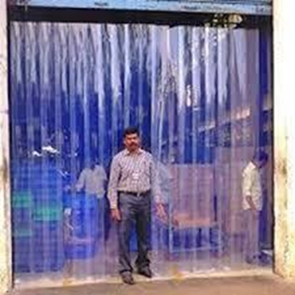 PVC strip curtain Blue clear pondok kopi
