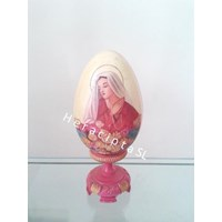 Ornate Wooden Egg gbr Mary pink 20 cm (EB-11b)
