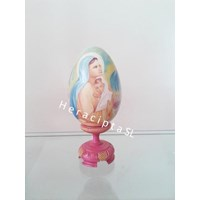 Jual Hiasan Telur Kayu gbr Bunda Maria pink 20cm (EB-11b) 2